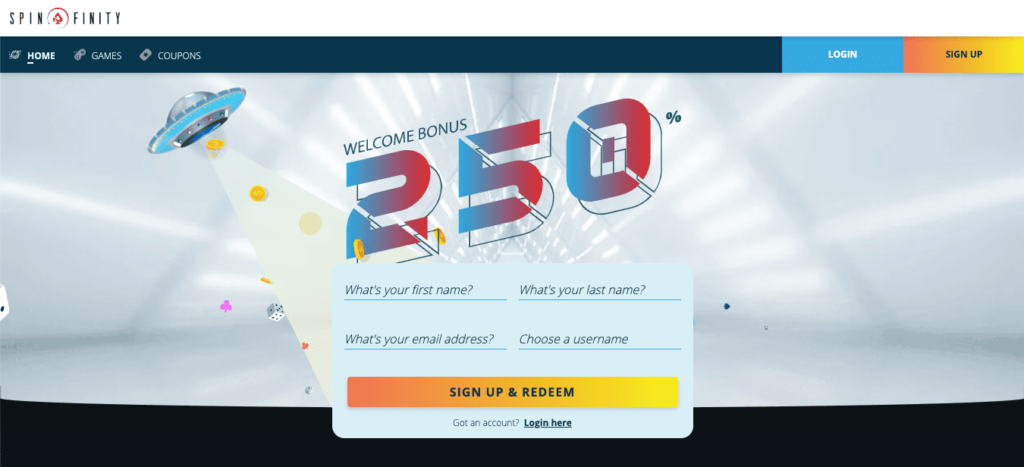 Spinfinity Casino login and registration